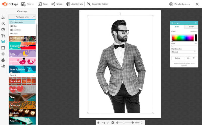 Black and white photo of a smartly dressed man opened in PicMonkey as a graphic to make a double color exposure image.