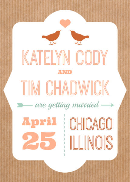 Wedding graphic design: a type-savvy save the date card.