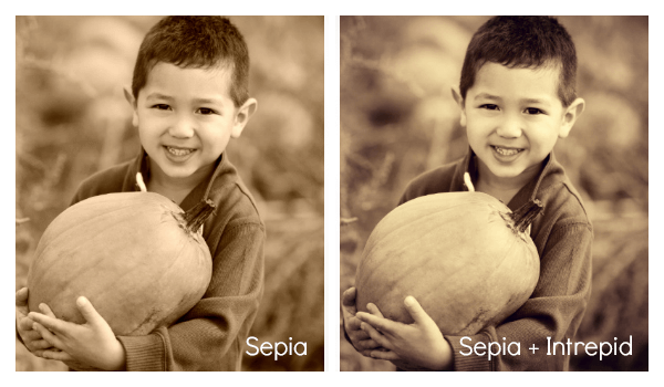 Sepia and Sepia + Intrepid effects, respectively.