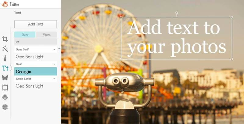 Easily add text to photos using the Text tool in PicMonkey.