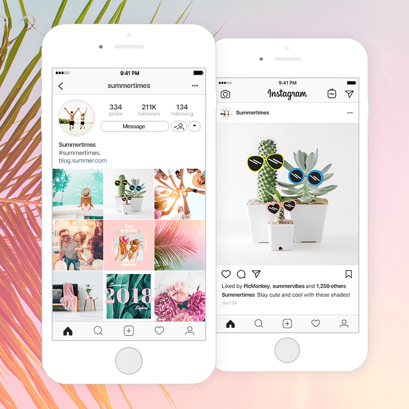 cool graphics and fonts and effects for summer on picmonkey mobile app