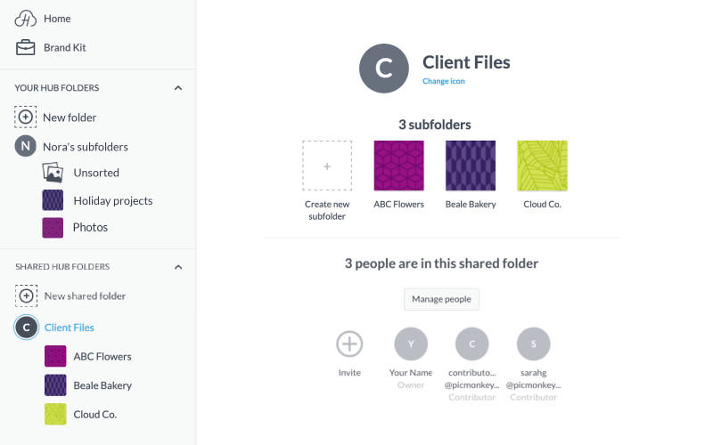 sharing private folders moves them to the Shared Hub Folders section