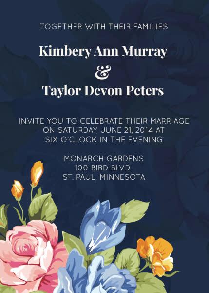 Wedding graphic design: floral wedding invitation.