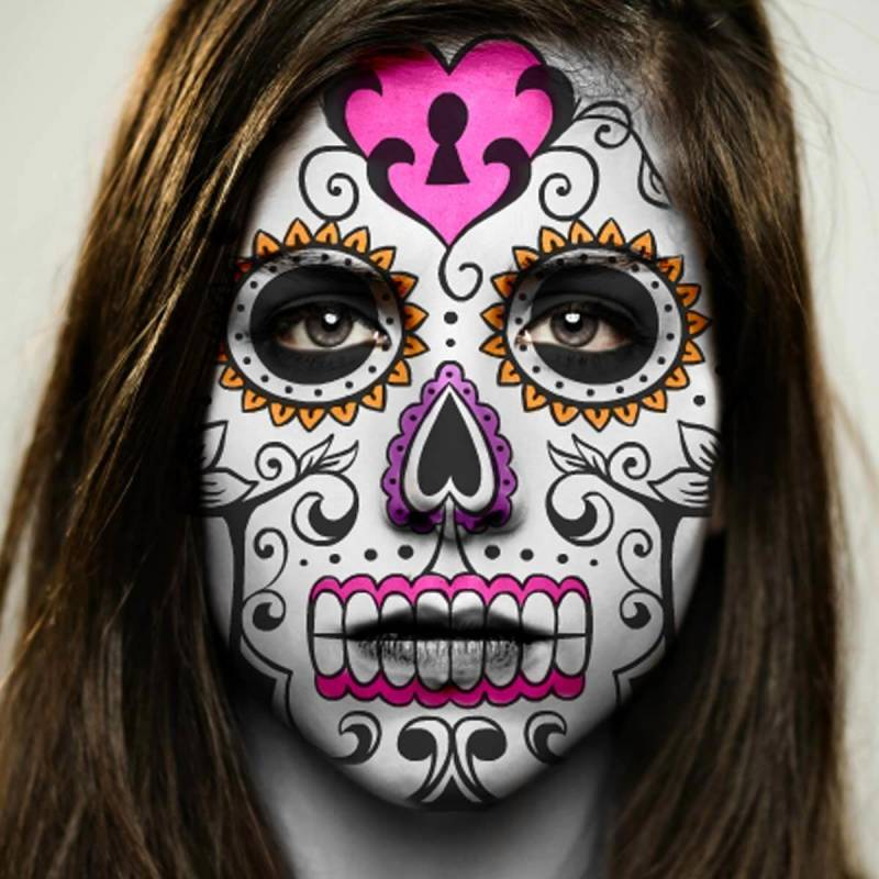 Day of the Dead makeup with one-click sugar skull embellishments.
