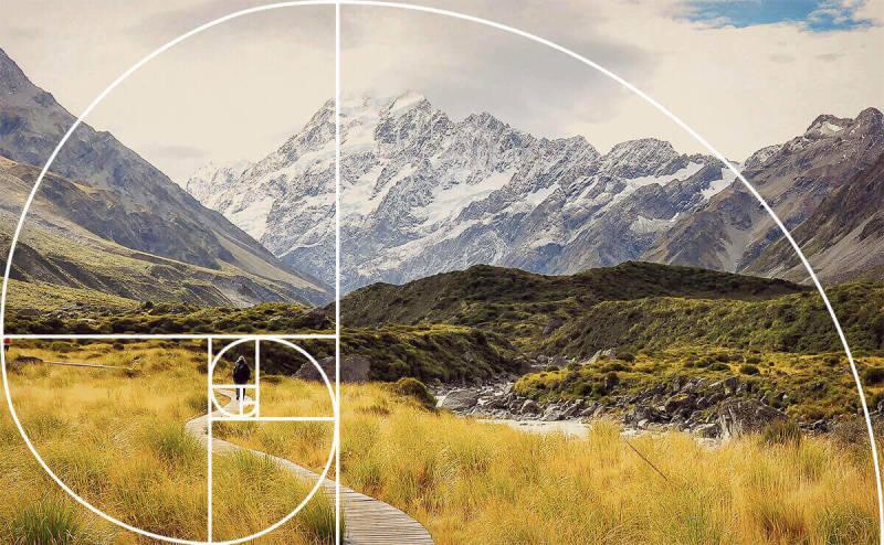Espiral de Fibonacci foto de paisaje