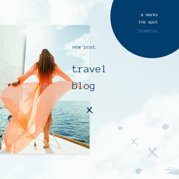 Add text to photos to create a design like this travel blog cover