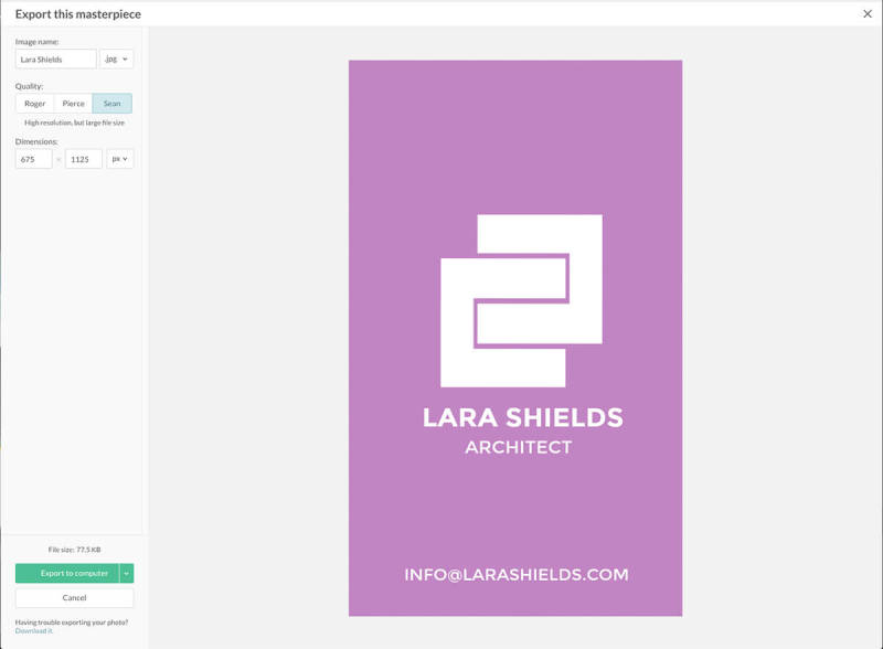 Save your own professional business card design to your computer after making it in PicMonkey.