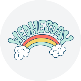 Wednesday rainbow sticker