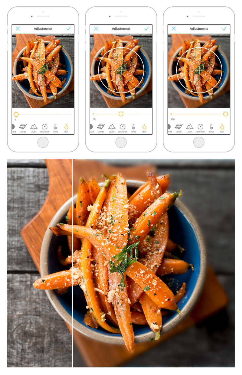 Use the blur tool in the PicMonkey mobile app to make your food photos—like this pic of yummy carrots—extra mouthwatering.