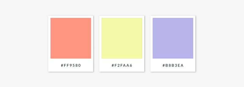 color palette of pastels using triadic color scheme