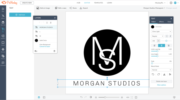 make a monogram logo in picmonkey