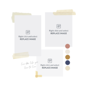 mood board template with photo frames and masking tape