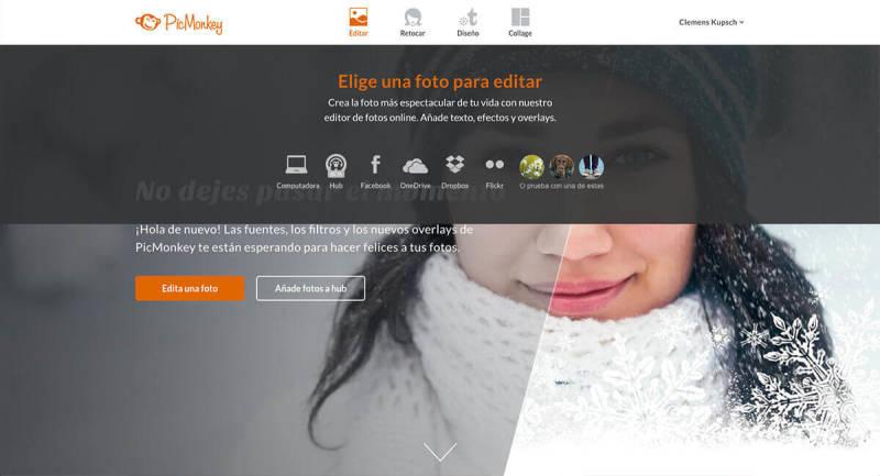 Para crear una imagen circular en PicMonkey, haz click en Editar en la página principal.