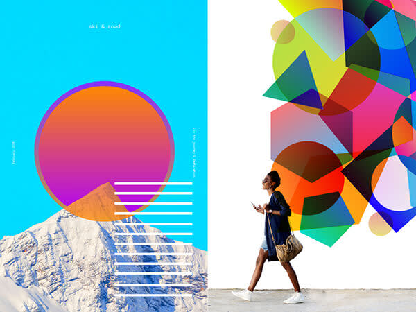 Gradients show transitions between colors.