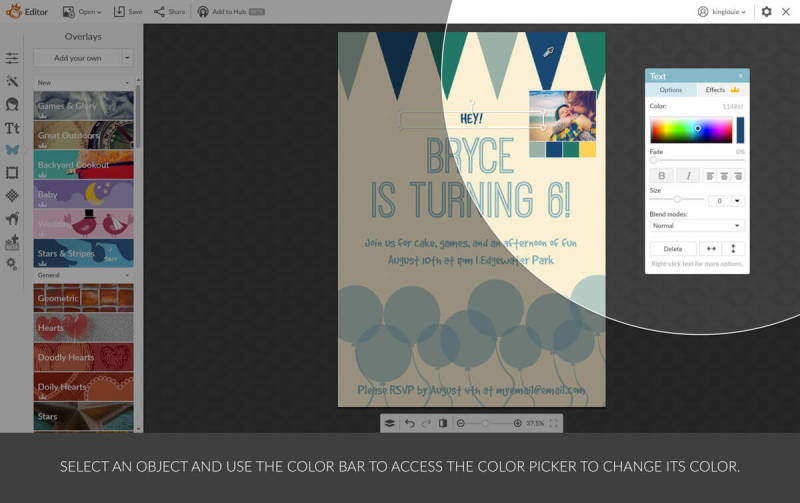 Change the colors of your design template using your personal color palette in PicMonkey.