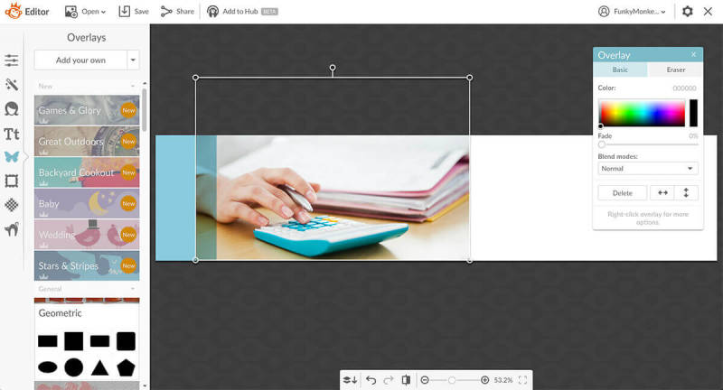 Add your own photos as Graphics in PicMonkey, and create a photo strip for your leave behind card.