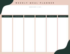 Weekly meal planner template at PicMonkey