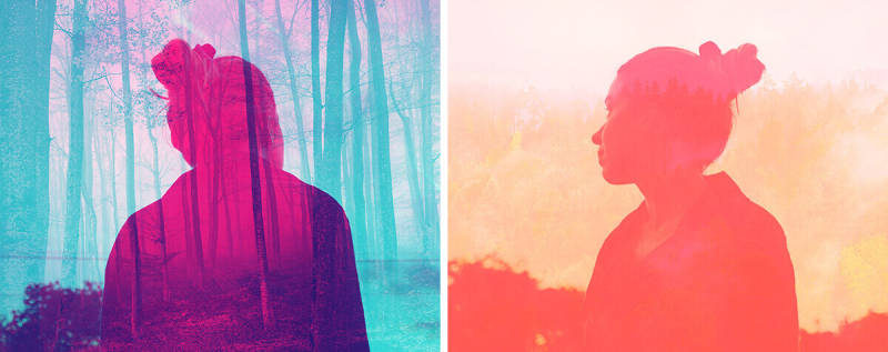 Double color exposure images of silhouettes on top of landscapes.