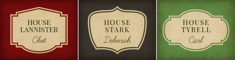 Create drink tags (or download these!) for your Game of Thrones watch party, and avoid beverage mixups.