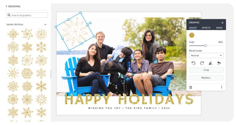 add a festive graphics to your photo holiday card