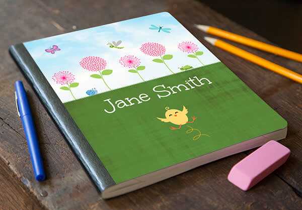 Back to school crafts: doing homework just got a little more fun, thanks to this flower-powered custom notebook cover.