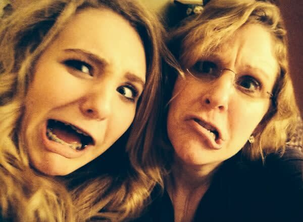 Double selfie all the way across the sky: Karen and daughter.