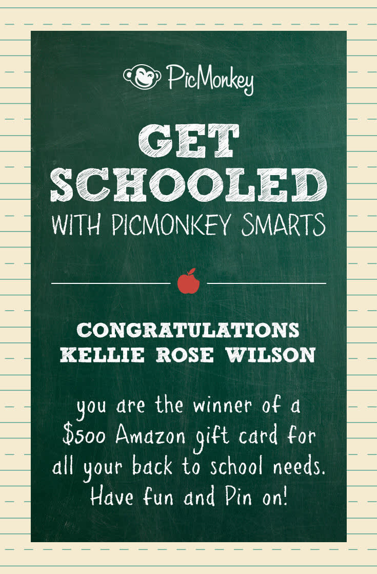 PicMonkey Smarts back to school winner.