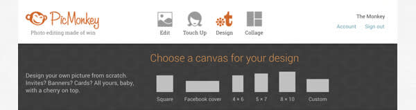 Navigation bar on the new PicMonkey homepage.