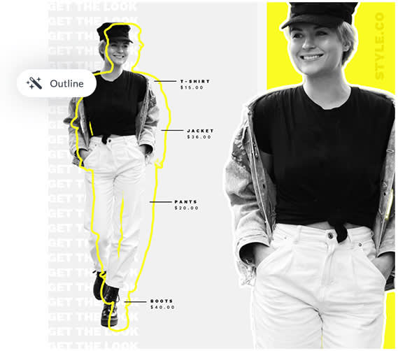 use the outline tool to trace around images and text for an arty design look