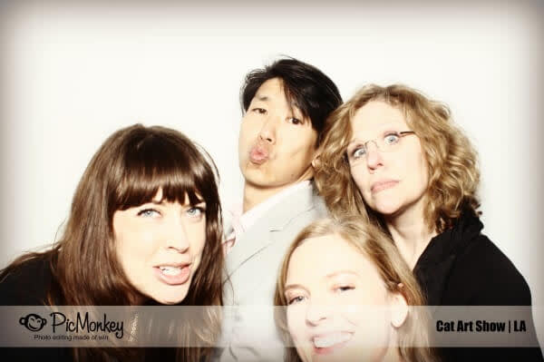 Christa, Jonathan, Karen, and Lisa mug for the camera at Cat Art Show LA.