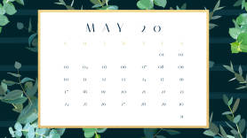 leaves and nature printable monthly calendar template