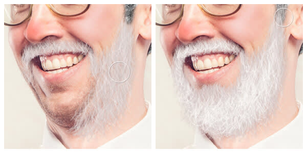 Jolly Beard effect being applied to a photo subject in our Santa costume effects.