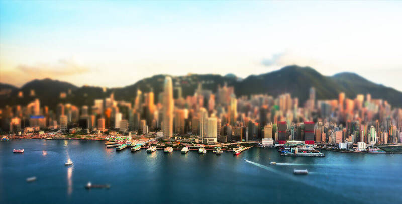 The miniature effect makes this picture of a city harbor look extra cool.