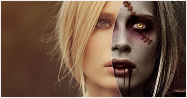 girl before after zombie