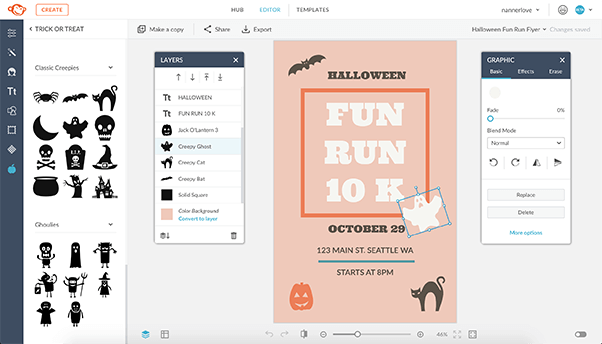 Use graphics in your Halloween invitations.