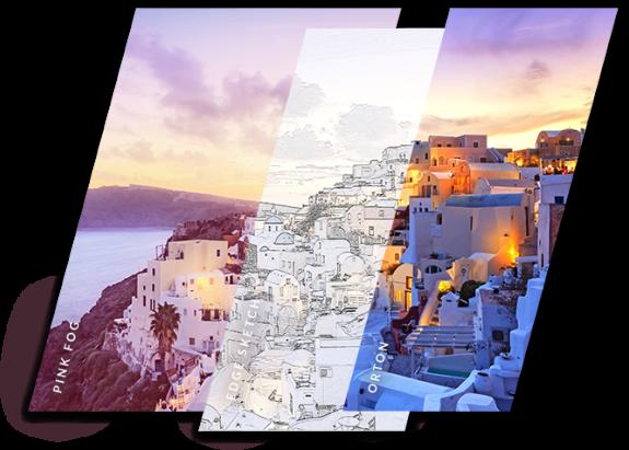 diferentes efectos fotográficos en una foto de una puesta de sol en grecia