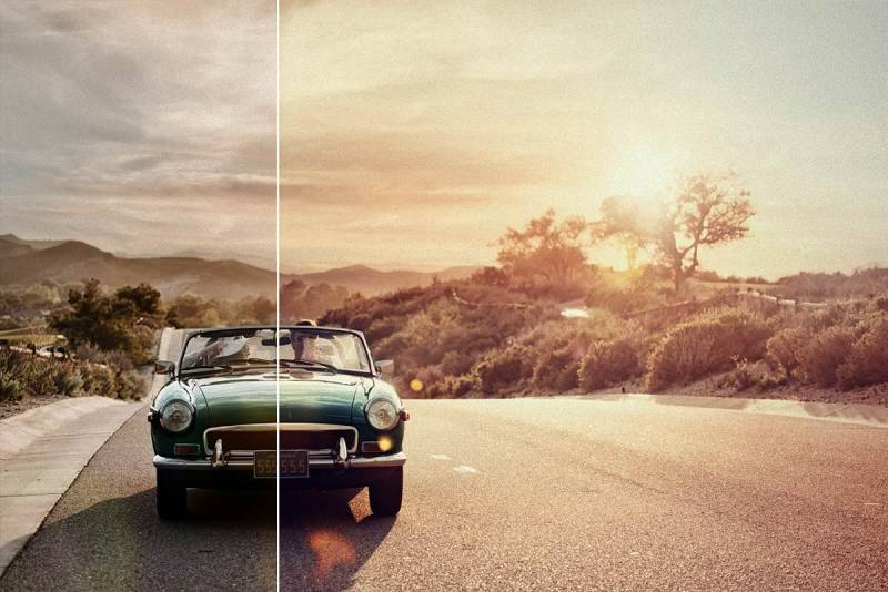 Give your grainy photos (like this convertible on the road image) a cool, artistic look with a filter.