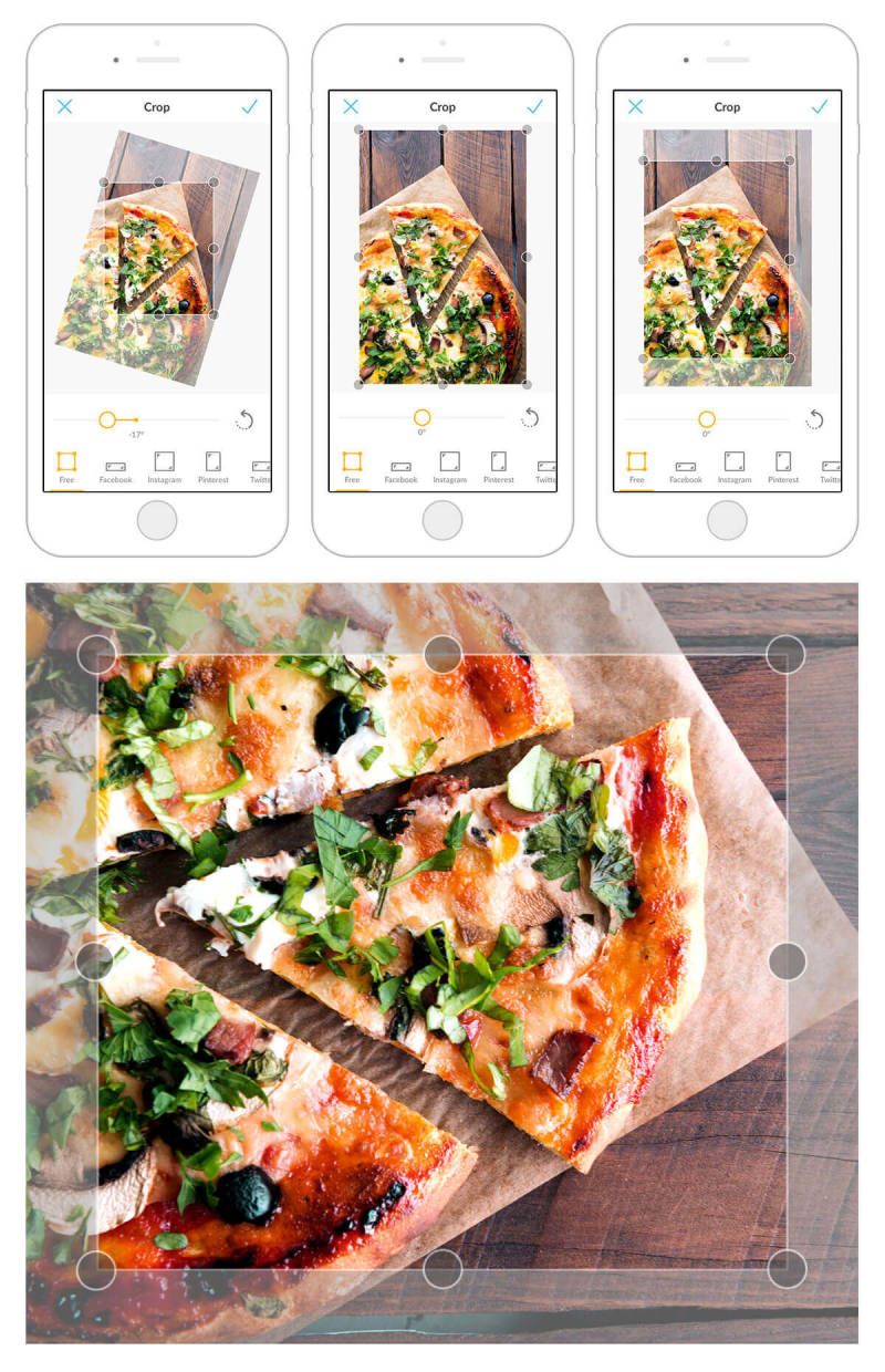 Cropping this picture of pizza with the PicMonkey mobile app quickly improves its composition.