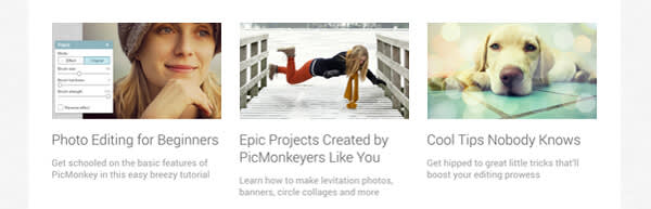 Blog articles that reside at bottom of new PicMonkey homepage.