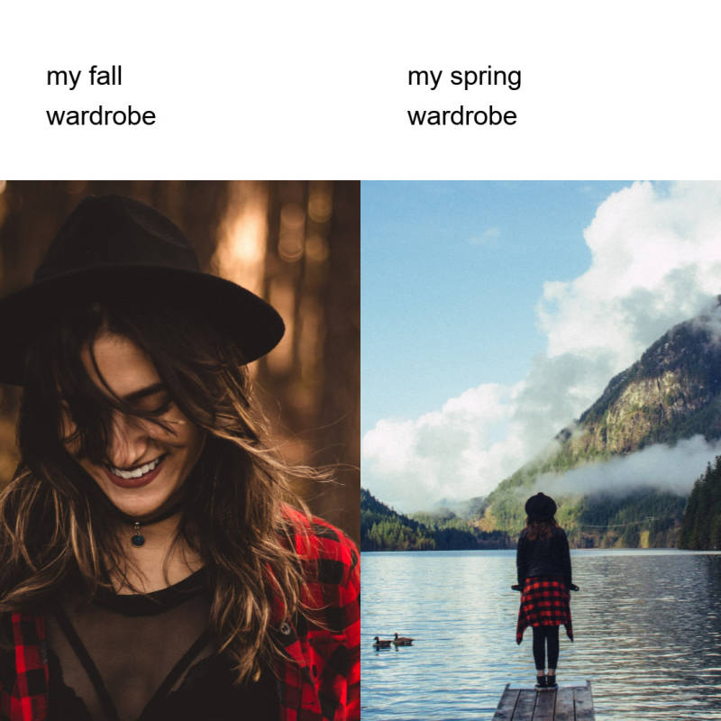 side by side meme - wardrobe