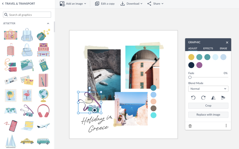 add a graphic to a collage template