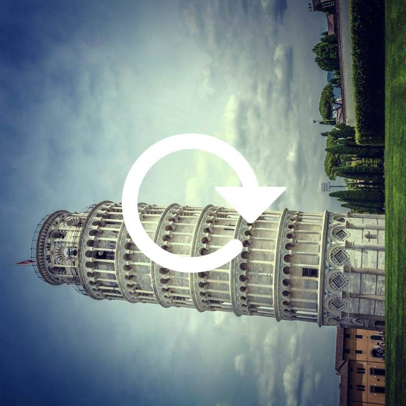 Using PicMonkey's tools to rotate an image of the Leaning Tower of Pisa.