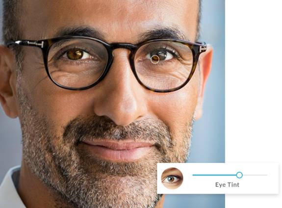 man with bright hazel eyes
