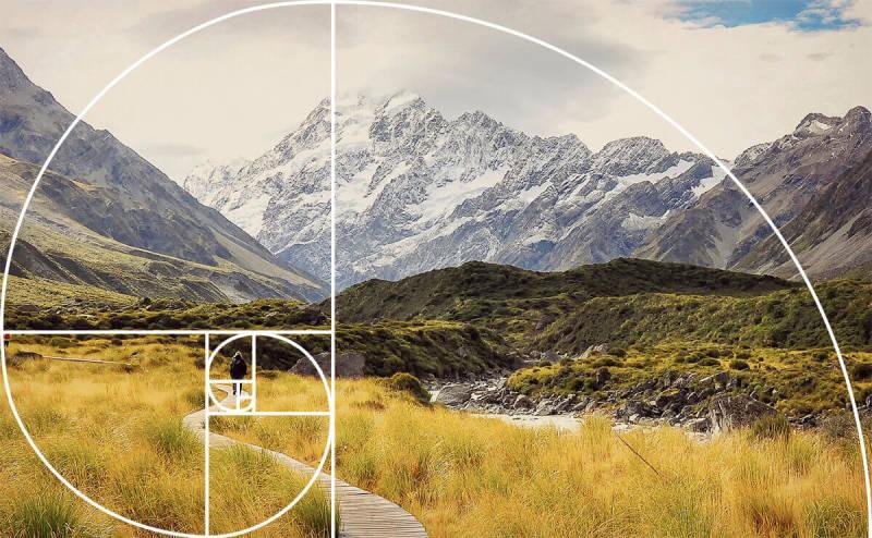 Fibonacci spiral landscape photo