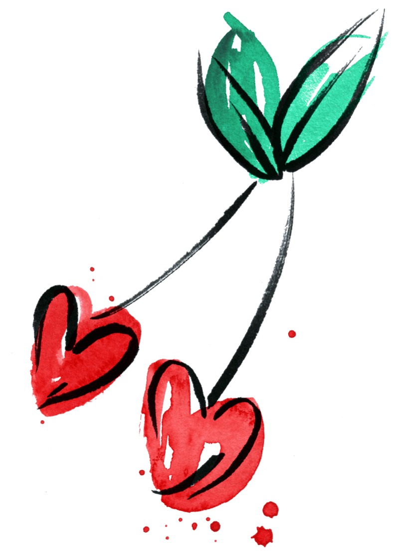 One of Jordan Kay's free illustrations for use in Valentine's Day cards: an image of two cherries shaped like hearts.