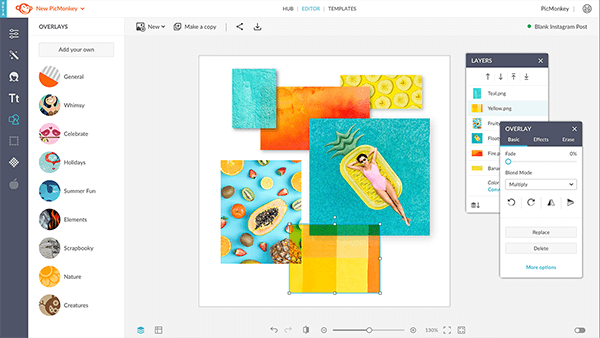 Re-order elements of your design with the layers palette in PicMonkey.