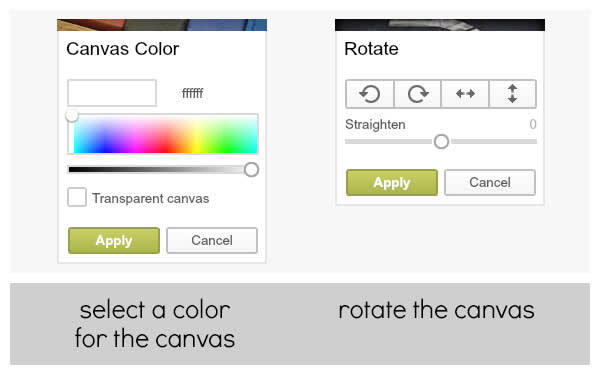 The Canvas Color and Rotate palettes are your best friends when it comes to making a recipe card.