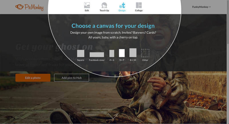 Choose from preset canvas sizes from the PicMonkey homepage with the Design tool.