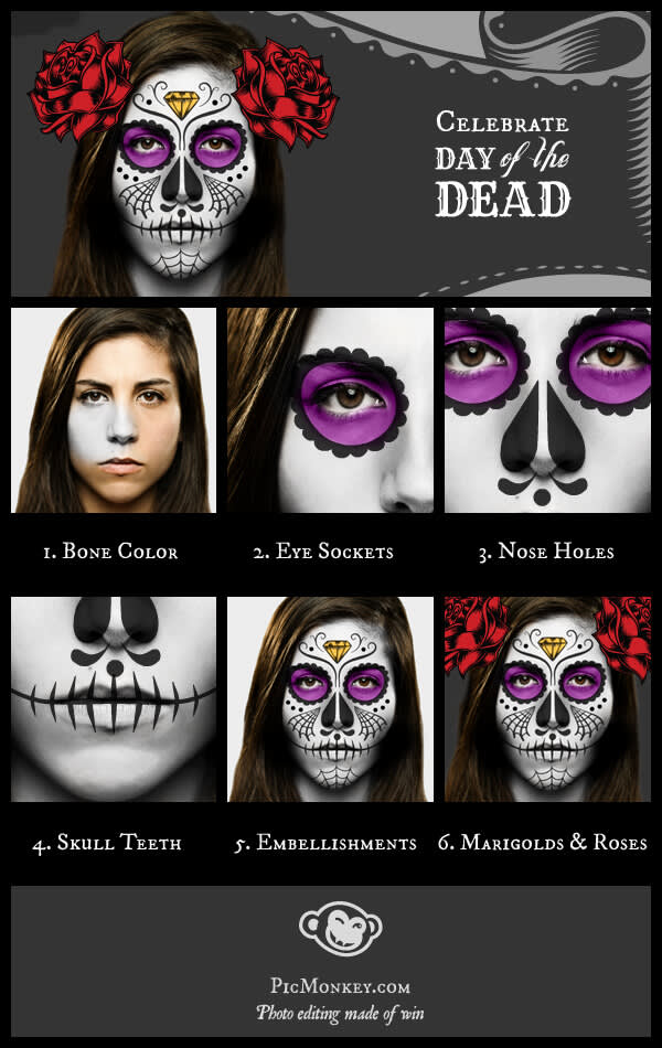 Day of the Dead overview: step by step guide with six steps.