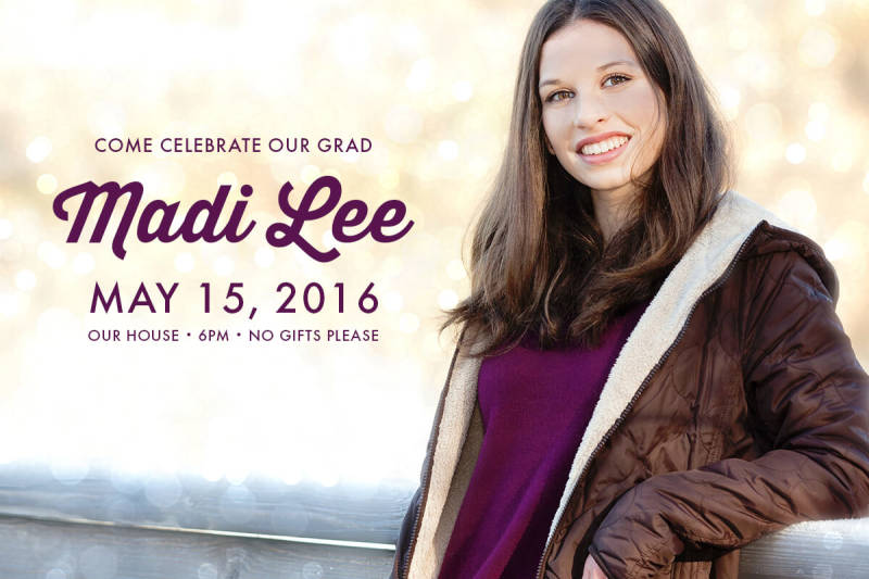 Senior photos can be easily repurposed into striking invitations for a graduation party.